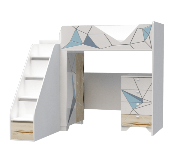 Кровать-чердак 2 модульный  серия Оригами