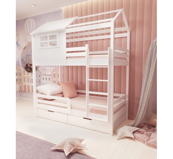 Детская кровать двухъярусная с домиком 508 W