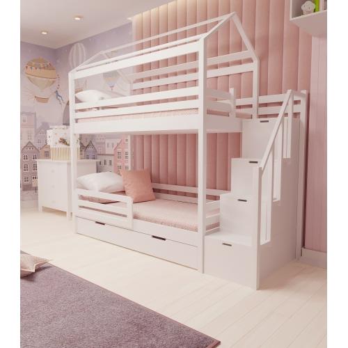 Кровать двухъярусная деревянная  c лестницей 303W