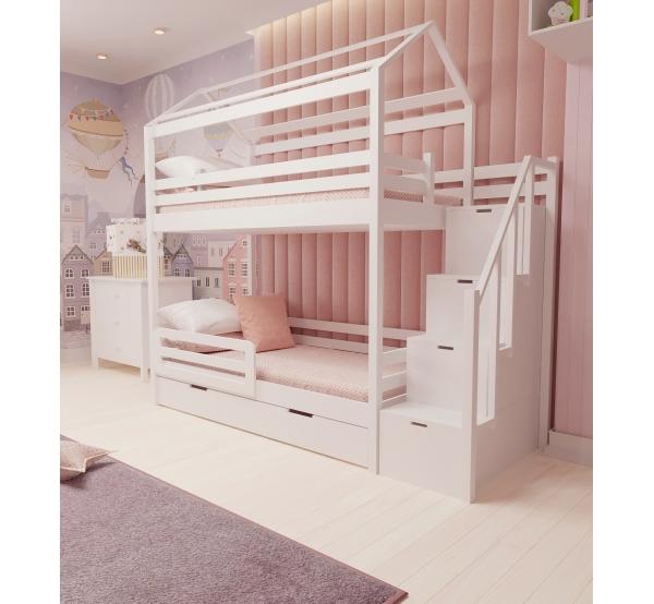 Детская кровать двухъярусная   с лестницей 503W