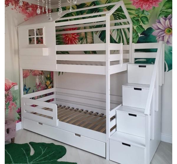 Детская кровать двухъярусная   с лестницей 504W