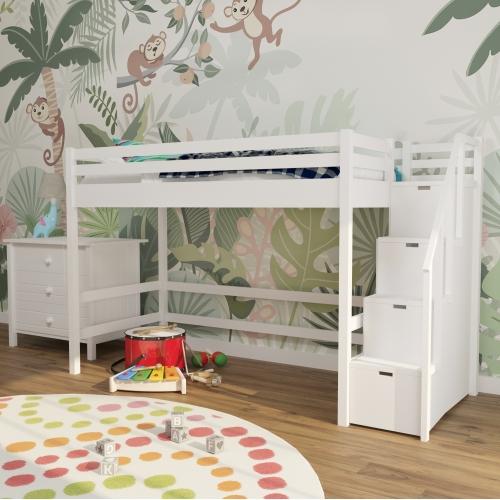 Кровать-чердак конструктор  белый c лестницей 301W