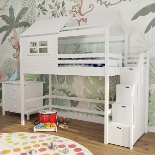 Кровать-чердак дерево  белый c лестницей 303W