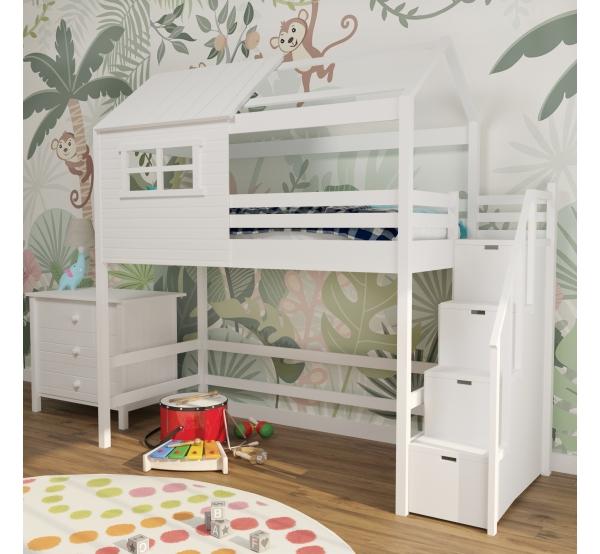 Кровать-чердак белый с лестницей 303W