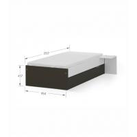 Кровать 90x200 низкая White Dark Meblik