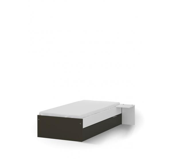 Кровать 90x190 низкая White Dark Meblik