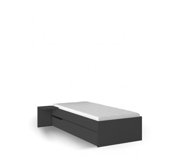Кровать 120x200 низкая Dark Meblik