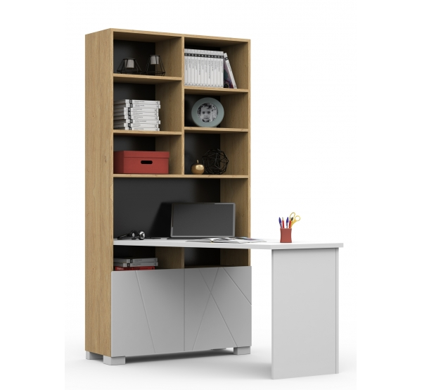 Письменный стол-стеллаж 438/439 правый/левый X White/X Oak