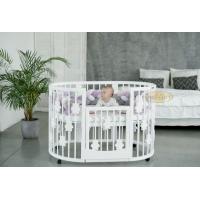 Кроватка для новорожденных круглая/овальная Smart Bed Plus Round с опускающейся стенкой с декором