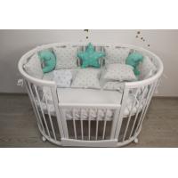 Кроватка для новорожденных круглая/овальная Smart Bed Plus Round с опускающейся стенкой