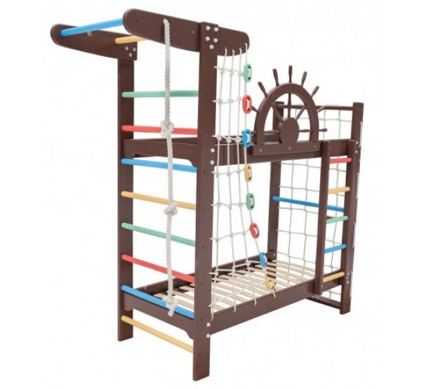 """Детская двухъярусная кровать-спортивный уголок """"Забавный Пират"""""""