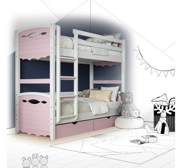Кровать двухъярусная деревянная Novus