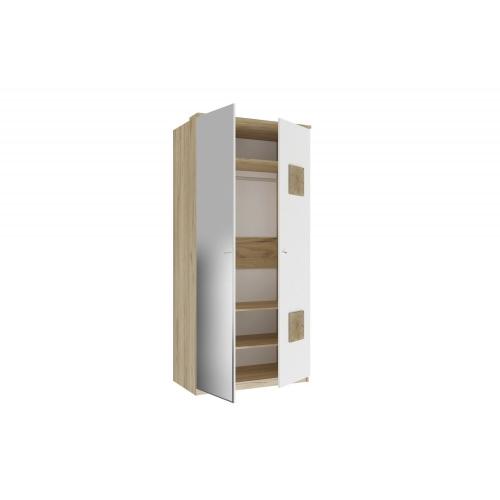 Шкаф двухстворчатый с 1 зеркалом и декоративными накладками Фиджи