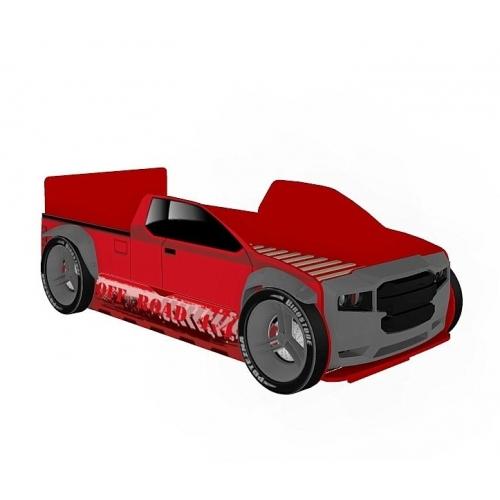 Кровать-машина 900 Пикап с капотом и колесами Формула