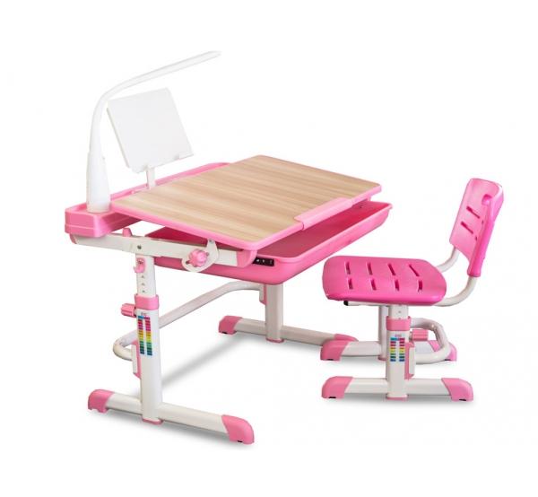 Детский комплект парта и стульчик Evo-kids Evo-04 XL клен (с лампой)