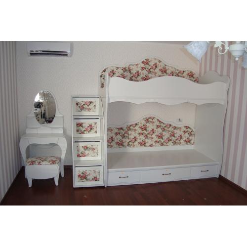 Кровать двухъярусная Прованс с лестницей