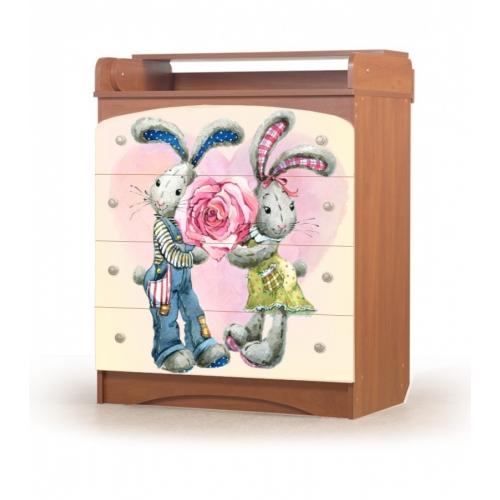 """Комод пеленальный """"Кролики"""" KD-3.83 Вальтер"""