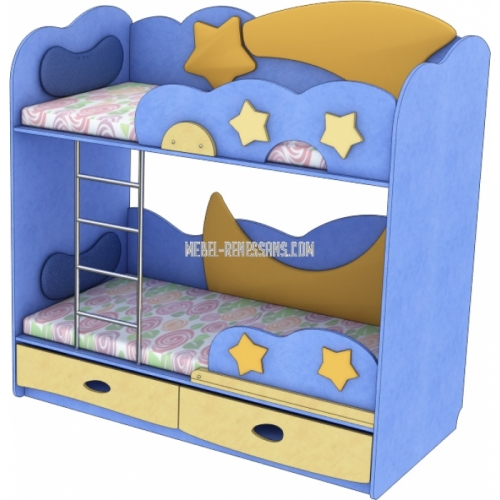 Кровать двухъярусная «Месяц-Комета» с ящиками внизу