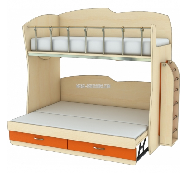 Детская двухъярусная кровать с увеличением спального места Планета Луна